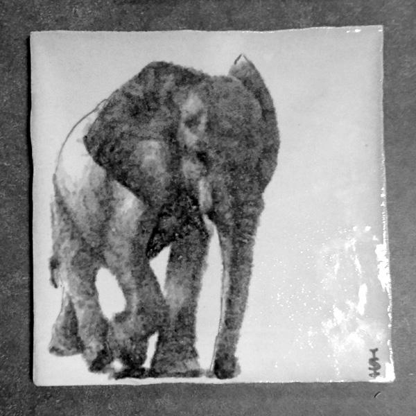 elephant on tile, painted tile, glazed