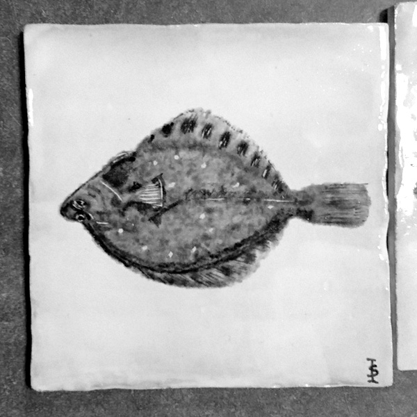 plaice, schol, painted tile, glazed